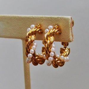 Vintage Napier Pearls Braided Gold Hoop Earrings